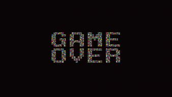 Space invaders dark background minimalistic retro games wallpaper
