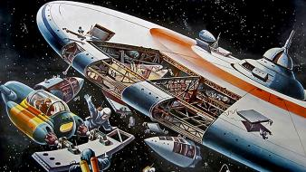 Spaceships science fiction artwork retrofuture klaus burgle wallpaper
