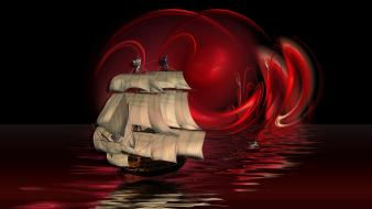 Sunset red ships digital art artwork sails wallpaper