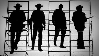 The wild bunch cowboys grayscale wallpaper