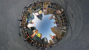 Toronto circles creative digital art fisheye effect wallpaper