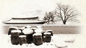 Winter snow pagodas oriental pagoda wallpaper
