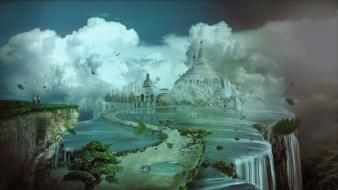 3d art clouds digital fantasy palace wallpaper
