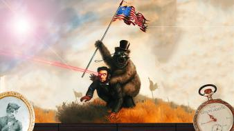 Abraham lincoln bears digital art funny lasers wallpaper