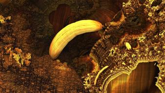 Abstract gold golden bananas digital art wallpaper