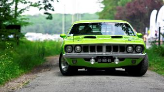 American hemi cuda cars green wallpaper