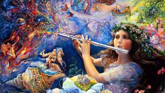 Art dreams enchanted flute josephine wall mystical wallpaper