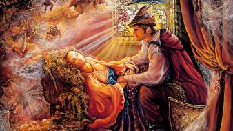 Art dreams sleeping beauty josephine wall mystical wallpaper