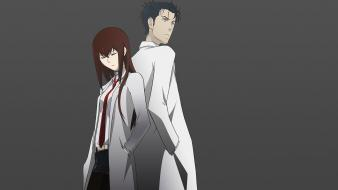 Background girls black grey gradient lab coats Wallpaper