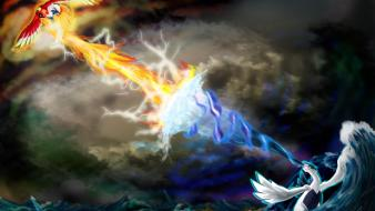 Birds fire storm wind lugia colors power Wallpaper