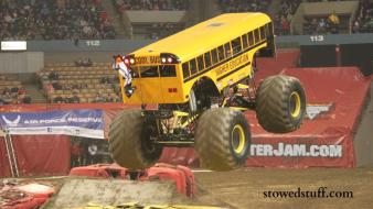 Cars school bus monster truck jam wallpaper