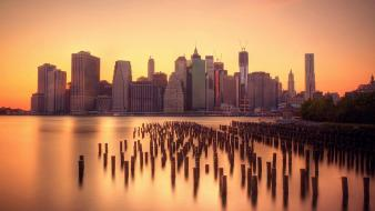 Cityscapes dawn usa new york city manhattan skyline wallpaper