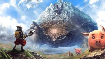 Clouds landscapes turtles weapons armor pigs swords skies wallpaper