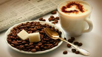 Coffee food brown spoons beans drinking and milk Wallpaper