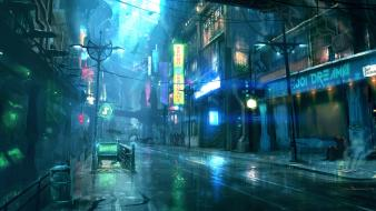 Cyberpunk dreamfall city lights drawings cities street wallpaper