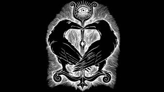 Drawings ravens black background symbolism paganism Wallpaper