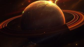 Earthbound blue digital art outer space planets wallpaper