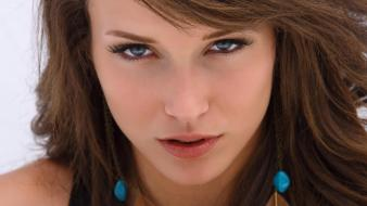 Eyes blue malena morgan faces white background wallpaper