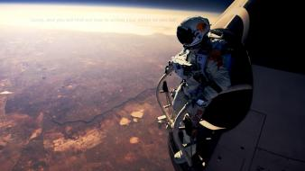 Felix baumgartner red bull space suits stratosphere wallpaper
