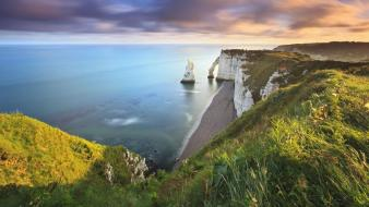 France cliffs normandie etretat seascape upscaled beach Wallpaper