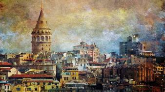 Galata tower istanbul turkey cities cityscapes wallpaper