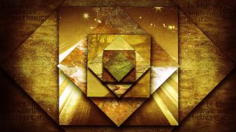 Golden digital art squares sentence rhombus perception wallpaper