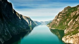 Grass hills norway fjord turquoise light blue wallpaper
