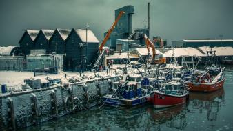 Harbor boats cranes houses sea wallpaper