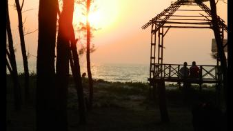 Hut tarkarli, beach, sunset, goa, malvan, india wallpaper