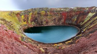Iceland blue crater lake green lakes wallpaper