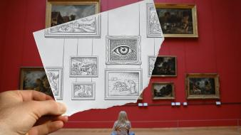 Illuminati artwork pencil vs camera wallpaper