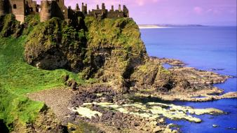 Ireland castle dunluce sea shorelines wallpaper