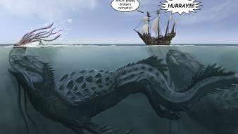 Kraken creatures funny sea ships wallpaper