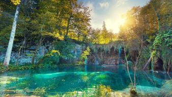 Lakes national park emerald turquoise plitvice deva wallpaper