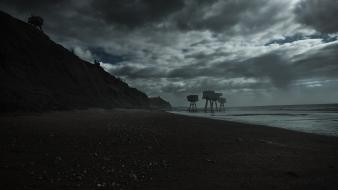 Landscapes coast dark shivering sands sea beach inetgrafx wallpaper