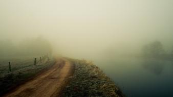 Landscapes fog dirt roads Wallpaper
