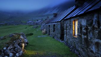 Landscapes houses rocks mist scotland window panes stone wallpaper