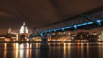 London millenium bridge millennium st. pauls cathedral cities wallpaper
