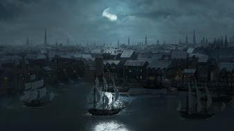 Moon ships port adventure ravens wallpaper