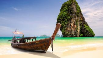 Nature islands boats skies sea beach krabi wallpaper