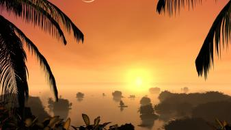 Nature sun trees moon palm exotic forest wallpaper