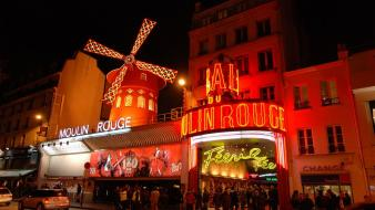 Paris night europe moulin rouge wallpaper