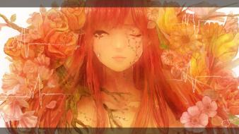 Red flowers redheads tears artwork wink roses wallpaper