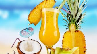 Sand fruits food coconut juice parasol pineapple beach wallpaper