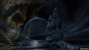 Skulls moon ships ghosts digital art ghost ship wallpaper