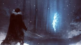 Snow fantasy art warriors swords spirits forest wallpaper