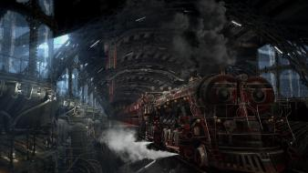 Steampunk trains train stations Wallpaper
