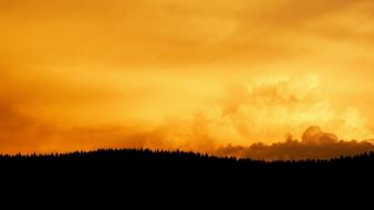 Sun horizon fire weather shadows sunlight skies wallpaper