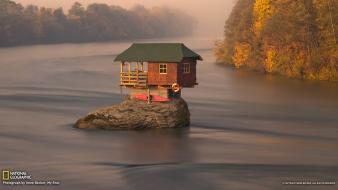 Trees houses rocks national geographic serbia rivers Wallpaper