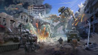 War ruins robots futuristic mecha combat artwork Wallpaper